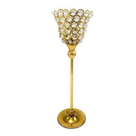 Castiçal Dourado com Pedraria P/M/G