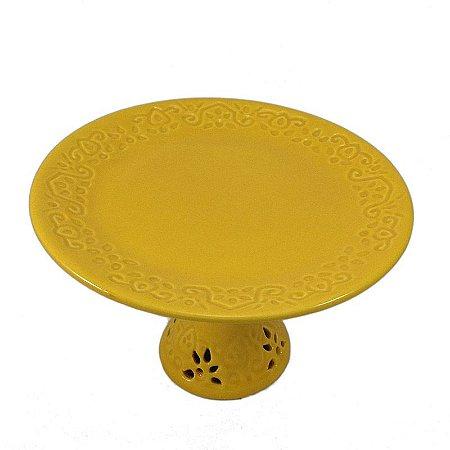 Sousplat para Doces de Porcelana Amarela