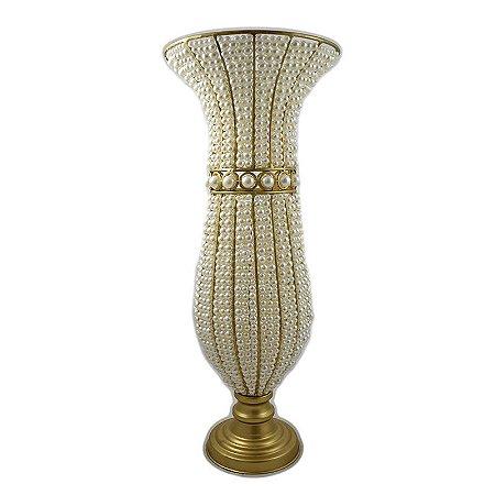 Vaso de Pérolas com Dourado M/G
