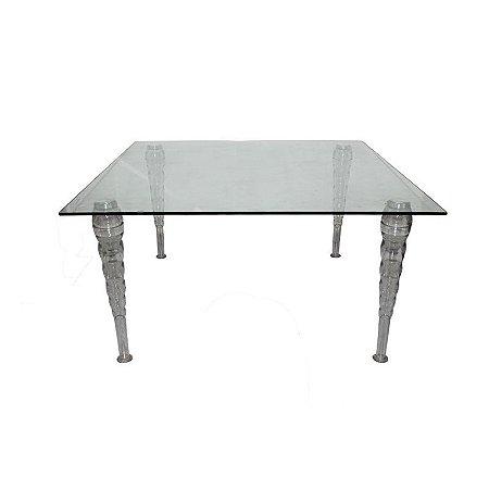 Mesa de Vidro com Pé de Cristal  Medida: 1,40x1,40cm 72alt