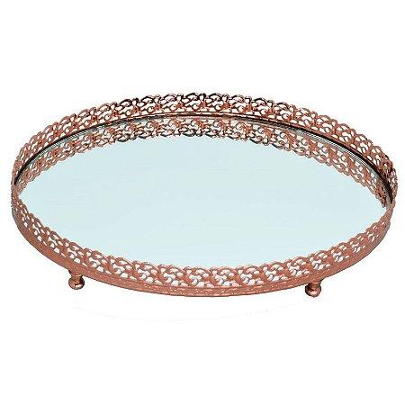 Bandeja Oval Espelhada G - Ouro Rosê