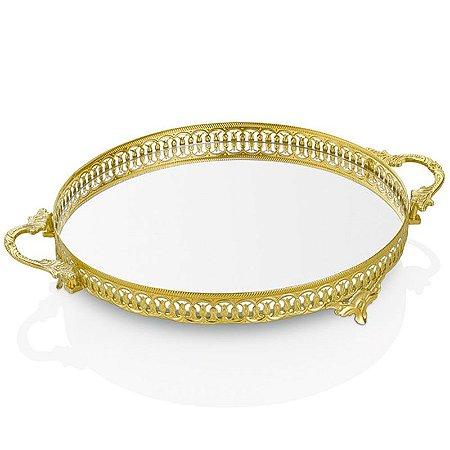 Bandeja Metal Redonda Espelhada - Ouro
