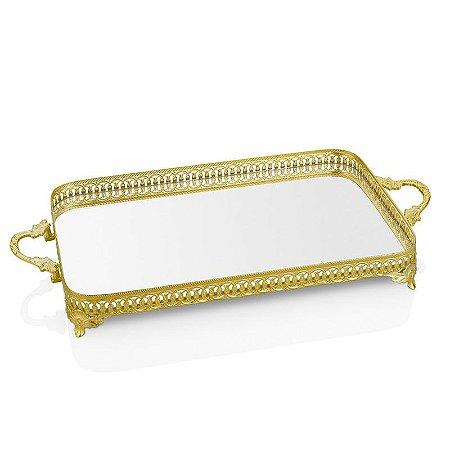 Bandeja Metal Retangular Espelhada - Ouro