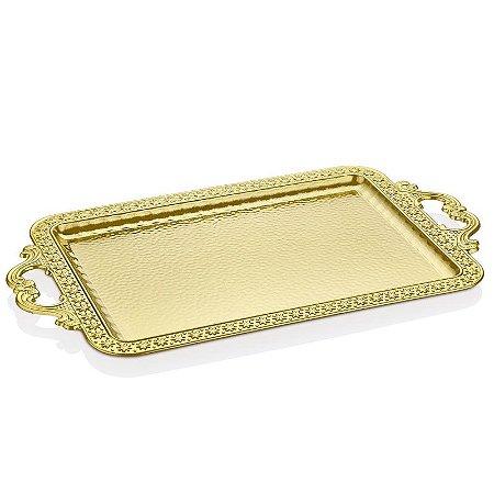 Bandeja Metal Retangular - Ouro
