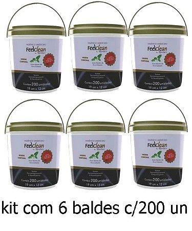 Toalha Umedecida Adulto Feelclean Absolute Balde kit c/6 baldes