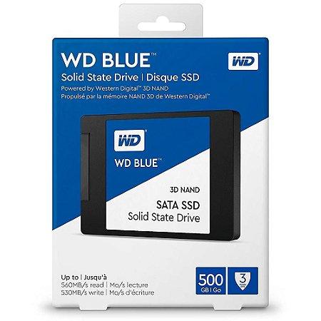 SSD WD Blue, 500GB, SATA, Leitura 560MB/s, Gravação 530MB/s (WDS500G2B0A)