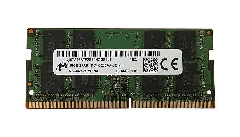 Memória p/ Note Micron 16GB PC4-25600 DDR4 3200MHz CL22 1.2V (MTA16ATF2G64HZ-3G2J1)