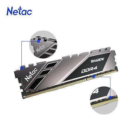 Netac Shadow 8GB DDR4 3200 Mhz, CL16, Cinza (NSDEU1BD4083200LY8SP)