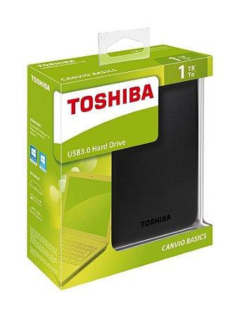 HD Externo Toshiba Portátil Canvio Basics USB 3.0 1TB Preto (HDTB310XK3AA)