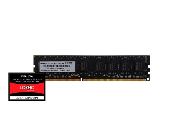 Memória Logic Black 8GB DDR3 1600Mhz (LGCM8GV1600B)