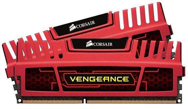Memória CORSAIR Vengeance Vermelha 16GB (2 x 8GB) DDR3 1600Mhz (CMZ16GX3M2A1600C10R)