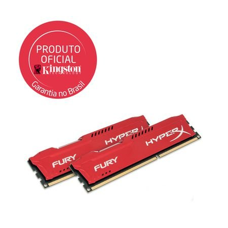 Memória Kingston HyperX FURY 16GB DDR3 1333Mhz (2x8GB) CL9 Red Series (HX313C9FRK2/16)