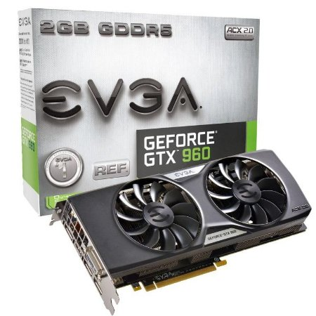 EVGA GeForce GTX 960 2GB ACX 2.0 GAMING Whisper Silent Cooling Gaming (02G-P4-2963-KR)