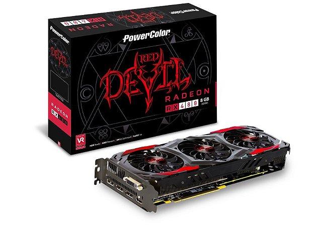 PowerColor RED DEVIL Radeon RX 480 8GB 256-Bit GDDR5 PCI Express 3.0 CrossFireX DirectX 12 (AXRX 480 8GBD5-3DH/OC)