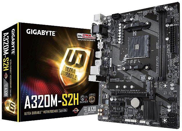 Gigabyte GA-A320M-S2H AM4 DDR4 HDMI / DVI, M.2, USB 3.1 Ger 1, Suporta Ryzen 2000 mATX