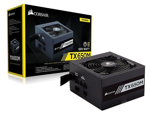Fonte Corsair TX-M Series TX650M 650W PLUS GOLD Certified Semi-Modular Active PFC (CP-9020132-WW)