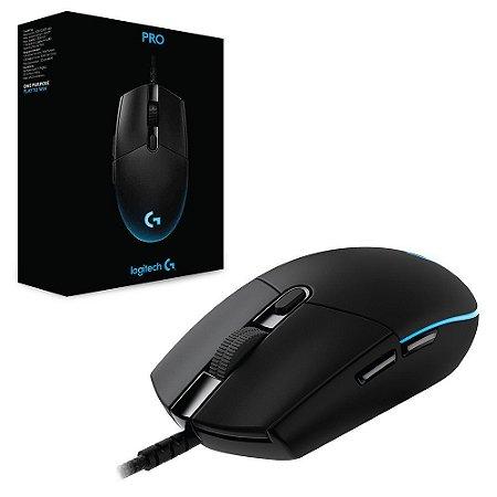 Mouse Gamer Logitech G PRO RGB Lightsync 12000DPI Preto (910-004873)