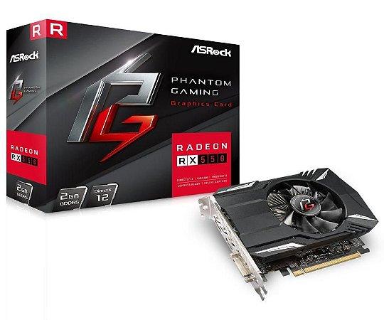 ASRock Phantom Gaming Radeon RX 550 2GB DirectX 12 128-Bit GDDR5 PCI Express 3.0 x16 (90-GA0500-00UANF)
