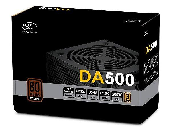 Fonte DeepCool DA500 500W 80Plus Bronze PFC Ativo (DP-BZ-DA500N)