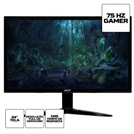 "Monitor Gamer Acer KG241 24"" Full HD 75Hz 1ms HDMI VGA"