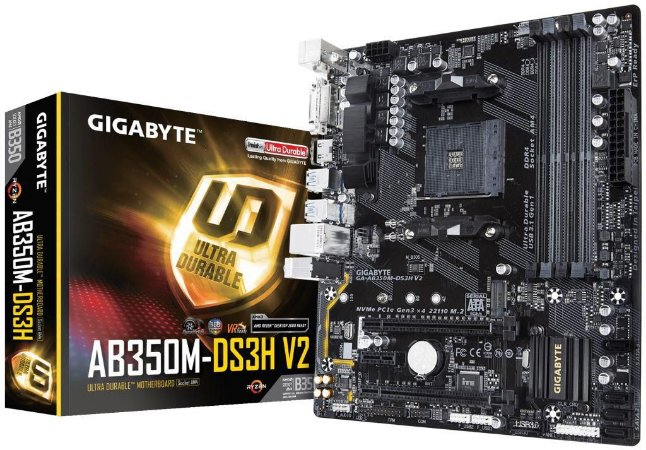 GIGABYTE GA-AB350M-DS3H V2 (rev. 1.1) AM4 AMD B350 SATA 6Gb/s USB 3.1 HDMI Micro ATX AMD