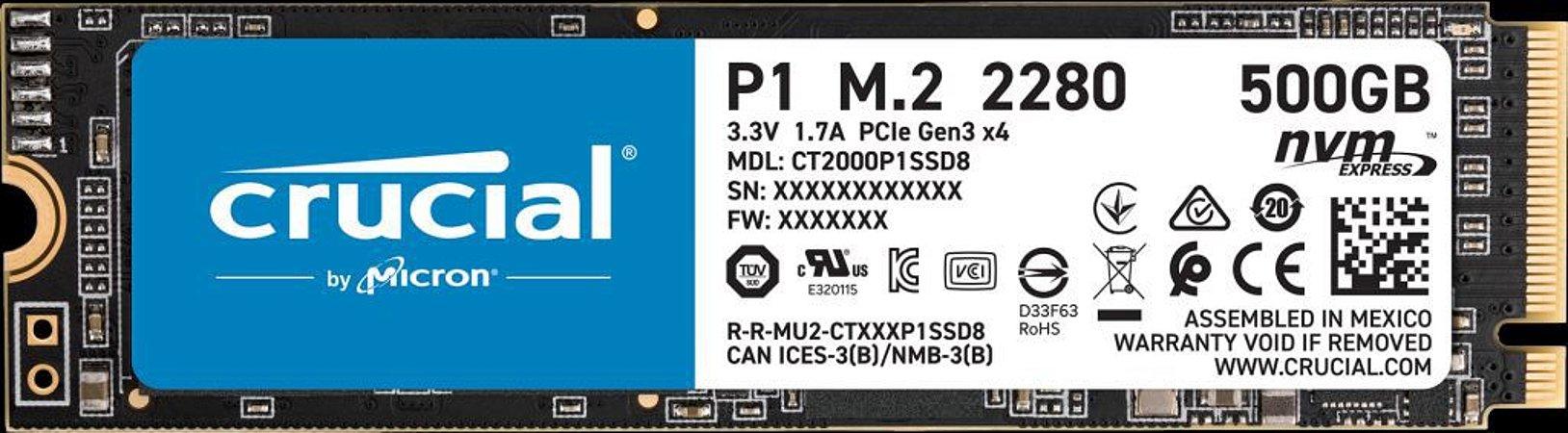 Crucial P1 SSD M.2 500GB 3D NAND NVMe PCIe (CT500P1SSD8)