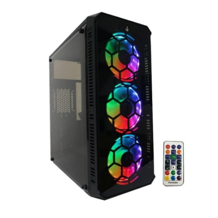 Gabinete Rise Mode Gamer Tower 01 RGB Lateral em Acrílico, Frontal em Vidro 3 FANs Mid Tower (RM-TW-01-RGB)