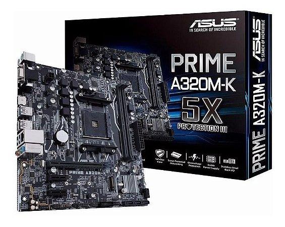 ASUS Prime A320M-K AM4 AMD A320 DDR4 SATA 6Gb/s USB 3.1 HDMI Micro ATX