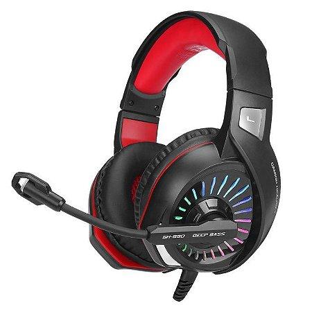 Headset Gamer Xtrike ME GH-890, Microfone, Led RGB, Preto/Vermelho (GH-890)