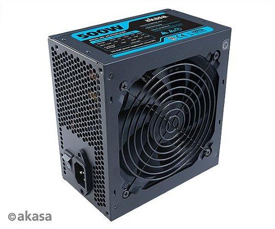 Fonte Akasa Python 500W, 80 Plus White, PFC Ativo, Black (AK-P050FG8-BKBR)