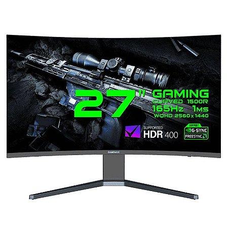 "Monitor Gamer GameMax 27"" Curvo 2.5K WQHD 165Hz 1ms HDR 400 Black (GMX27C165Q)"