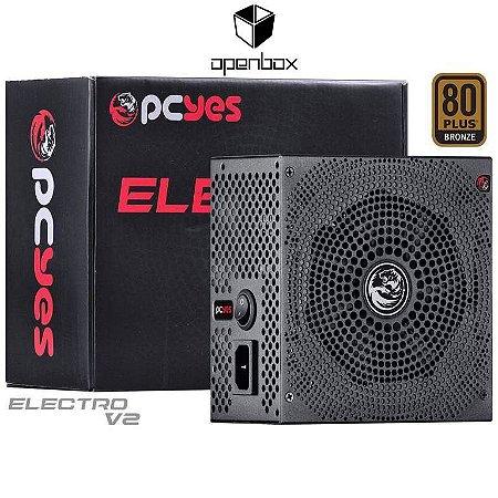 Fonte PCYES Electro V2 430W, 80 Plus Bronze, PFC ATIVO (OEM - Produto sem embalagem original) (ELECV2PTO430W)