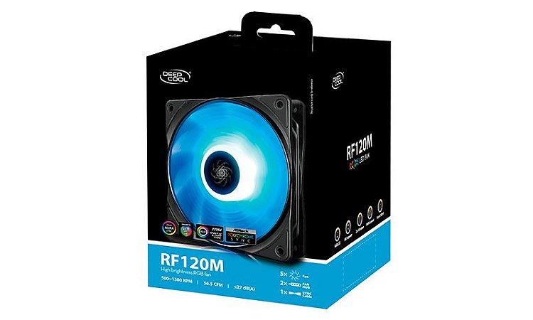 Kit Fan com 5 Unidades Deepcool RF120M RGB 120mm (DP-FRGB-RF120-5C-M)