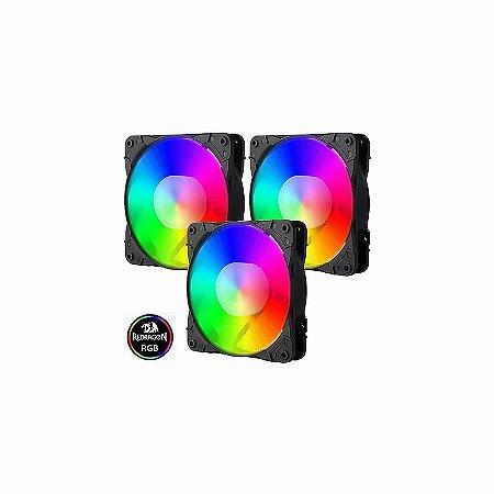 Redragon Kit Fan Cooler  3 Unidades, RGB, 12cm (GC-F007)
