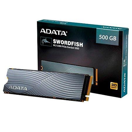 Adata Swordfish, 500GB, M.2 PCIe, Leituras: 1800MB/s e Gravações: 1200MB/s (ASWORDFISH-500G-C)