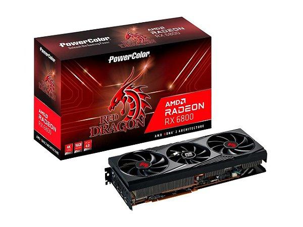 PowerColor Radeon RX 6800 Red Dragon, 16GB, GDDR6, 256bit, RDNA 2, PCIe 4.0, HDMI 2.1, AMD Infinity AXRX 6800 16GBD6-3DHR/OC