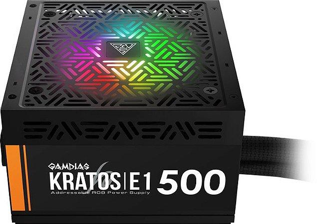 Fonte Gamdias KRATOS E1-500W 80 Plus RGB (GD-Z500ZZZ)