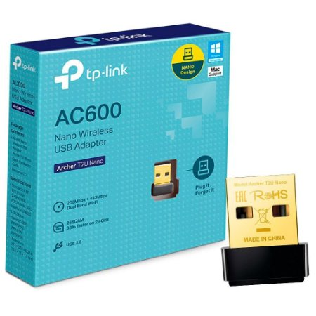 Adaptador Wireless TP-Link USB AC600 Archer T2U Nano