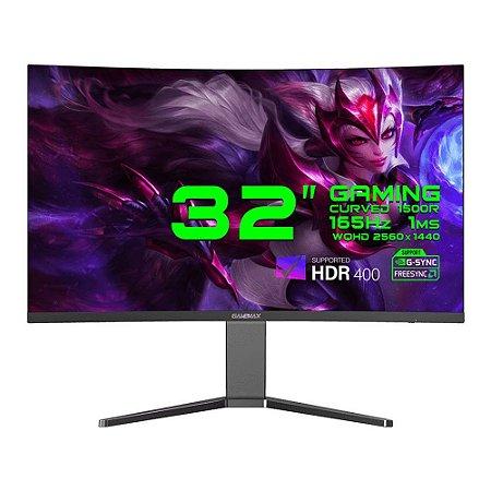 "Monitor GameMax 32"" Curvo 1500R, WQHD, 165Hz, 1ms HDR400 FreeSync  nVidia G-SYNC,Black (GMX32C165Q)"