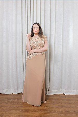 141151ab42 Vestido Longo Renda Perola com Renda Bege - ModaArts