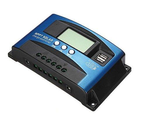CONTROLADOR DE CARGA MPPT C/ PAINEL DIGITAL 30-60A 12/24V