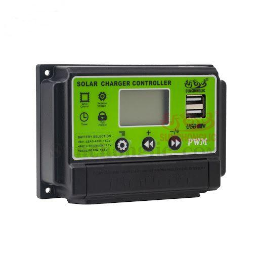 CONTROLADOR DE CARGA SOLAR PWM 10A 12V/24V LCD 2 USB SUNCHONGLIC