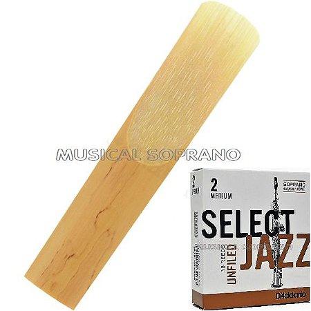 Palheta Select jazz - Unfiled - para sax soprano
