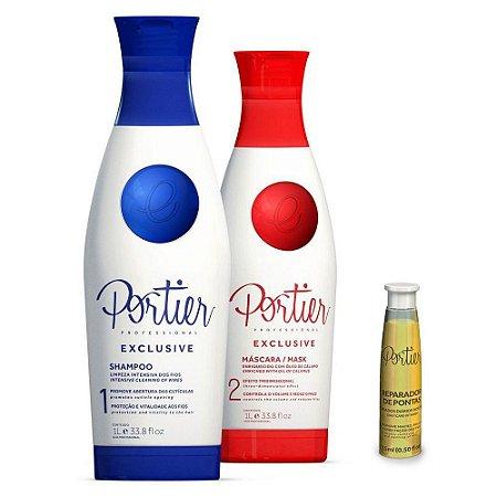 Portier Exclusive Kit - 1000ml (2 produtos) + Óleo Reparador de Pontas-15ml