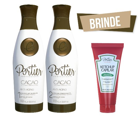 Portier Cacao Thermo Smoothing - Kit Duo 1000ml + BRINDE (Ketchup Capilar)