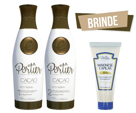 Portier Cacao Thermo Smoothing - Kit Duo 1000ml + BRINDE (Maionese Capilar)