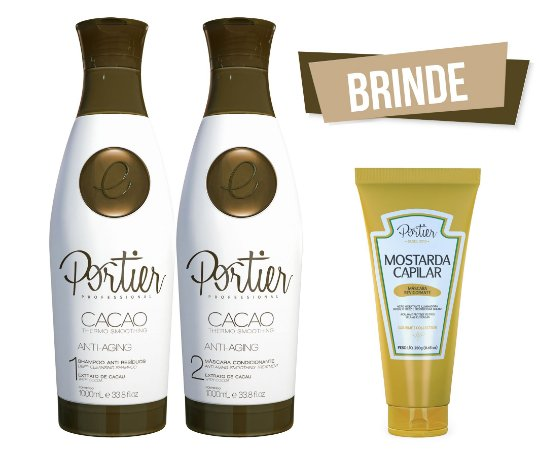 Portier Cacao Thermo Smoothing - Kit Duo 1000ml + BRINDE (Mostarda Capilar)