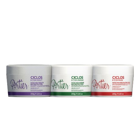 Combo Portier Ciclos B-Tox Violet 250g + Portier Ciclos B-Tox Unique250g + Portier Ciclos B-Tox Mask 250g