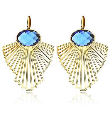 Brinco Angelica Cristal Azul Safira