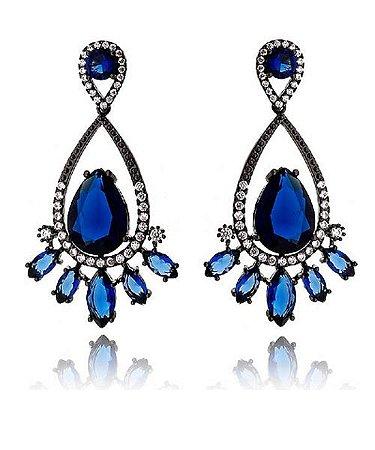 Brinco Blue Sapphire Crystal Drop Black Rhodium
